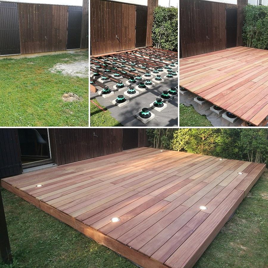 installation d une terrasse en lames bois novatis. Black Bedroom Furniture Sets. Home Design Ideas